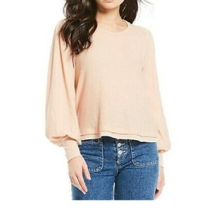 Free People Billie Relaxed Top in Shell Peach